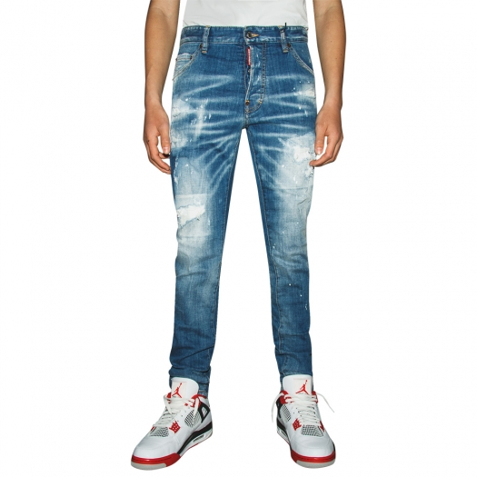 DSQUARED2 - Ripped White Spots Wash Tidy Biker Jeans